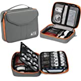 Vemingo Cable Organiser Double Layer Cable Case Electronics Accessories Organizer Bag Universal Bag for Small Electronic Devices for Travel Water Resistant Grey+Orange