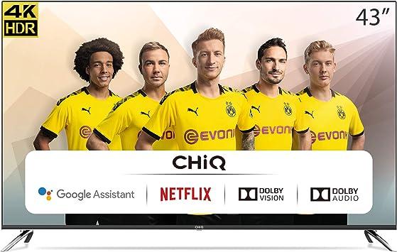 CHiQ Televisor Smart TV LED 43 Pulgadas, 4K UHD, HDR10/HLG, Android 9.0, WiFi, Bluetooth, 3 x HDMI, 2 x USB: Amazon.es: Electrónica