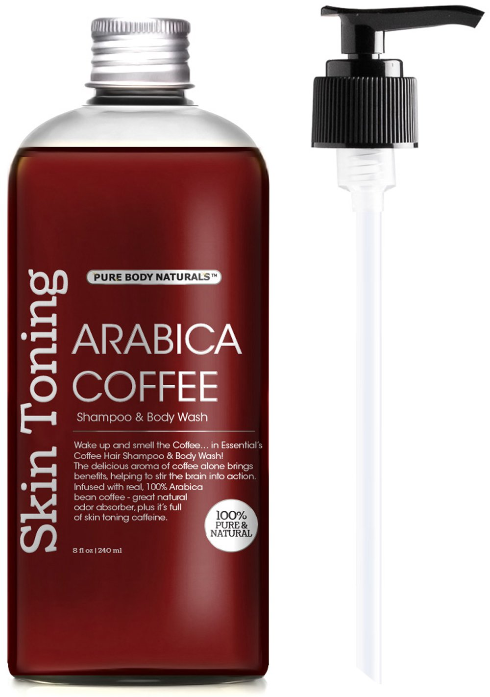 Arabica Coffee Shampoo and Body Wash for Hair Growth and Skin Toning by Pure Body Naturals, 8 Ounce