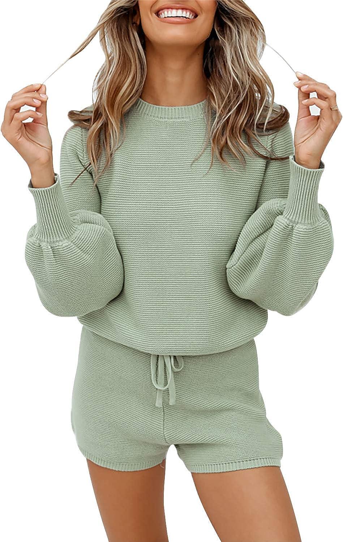 Fixmatti Women 2 Piece Knit Outfits Long Sleeve Sweater Top and Shorts Sweatsuits Set