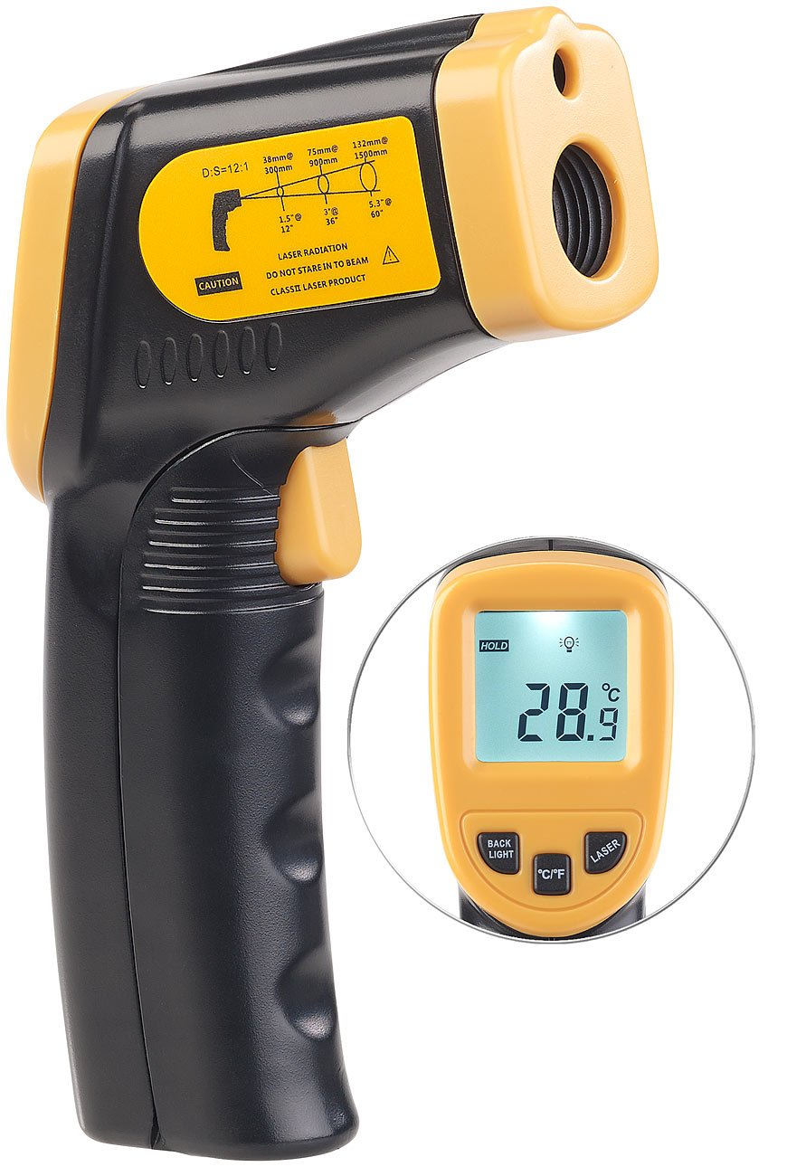 AGT Temperatur Messgerä t: Berü hrungsloses Infrarot-Thermometer m. Laserpointer, -50 bis +550 ° C (IR Thermometer)