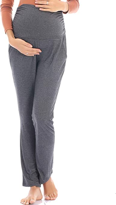 Yiwoza Women S Maternity Yoga Pants Over The Belly With Pocket Pregnancy Pants At Amazon Women S Clothing Store