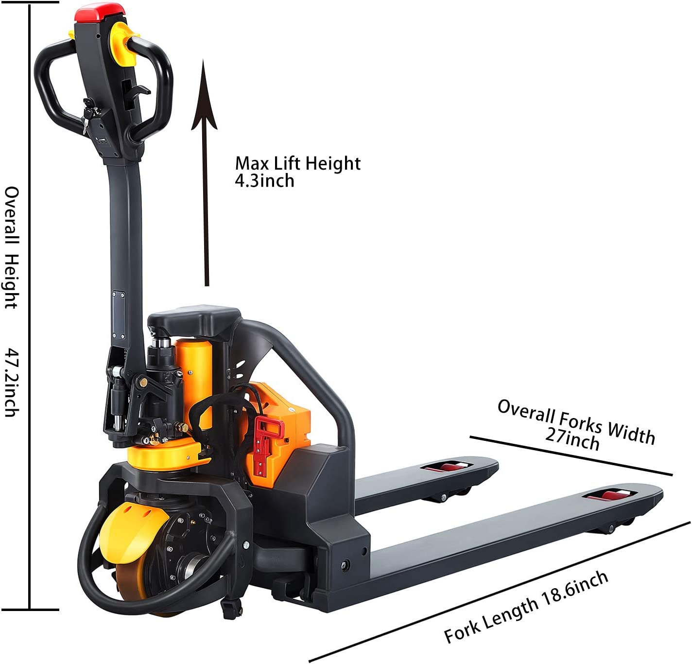 Full Electric Pallet Jack Truck 3300 Lbs 48x27 Fork