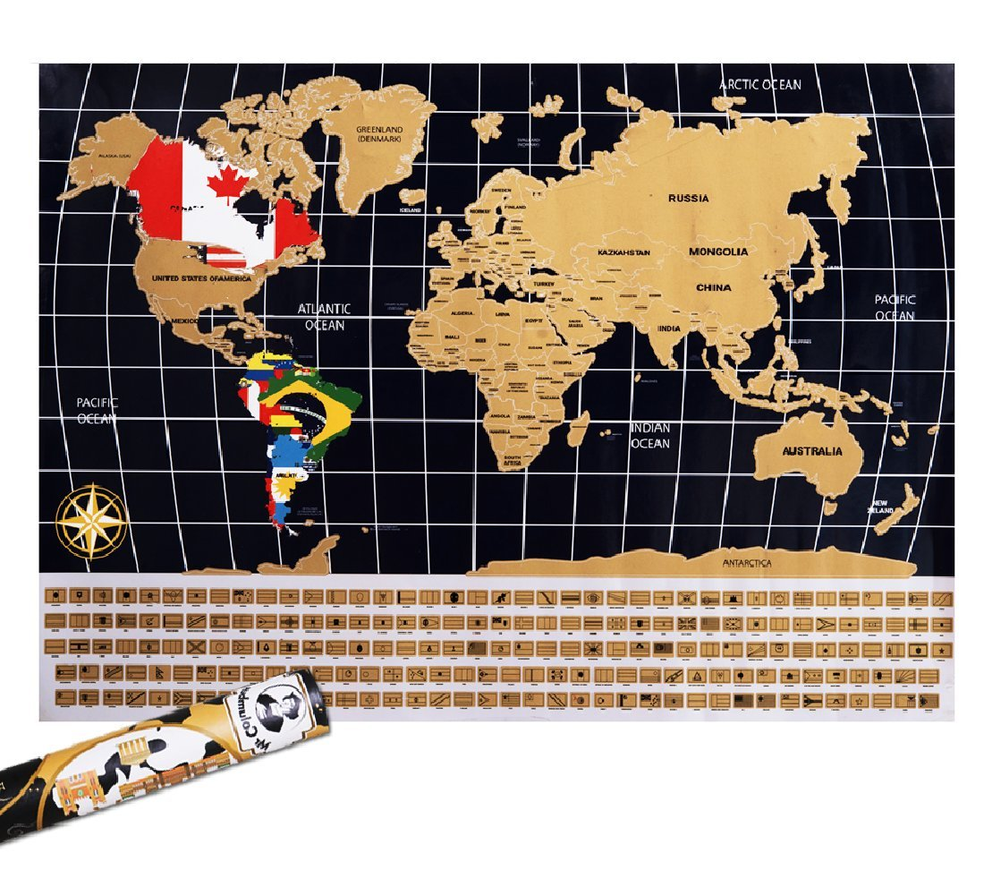 scratch off world map poster with country flags for travel education and