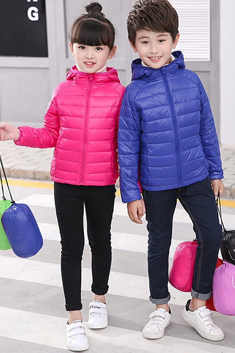 Bai You Mei Hooded Ultra Light Weight Short Down Jacket for Girls Boys 10 Colors