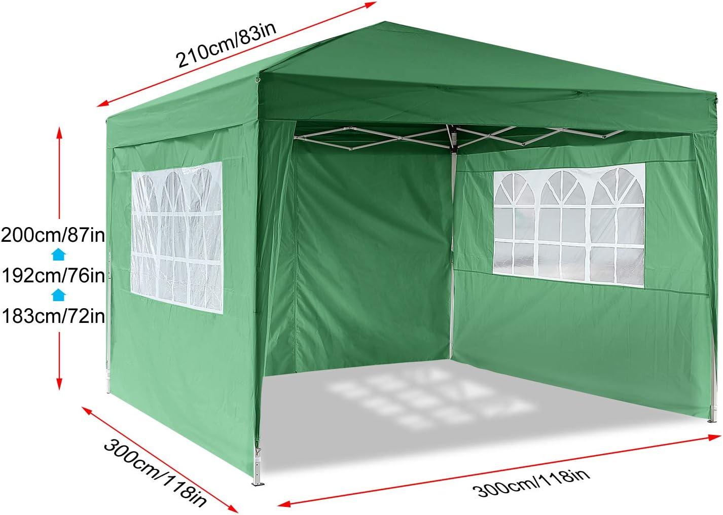 Homdox Tienda Pabellón Carpa 3M*3M con Paredes Laterales y Ventanas Plegables para Fiestas, Eventos, Boda, en Jardín o al Aire Libre, Verde: Amazon.es: Jardín