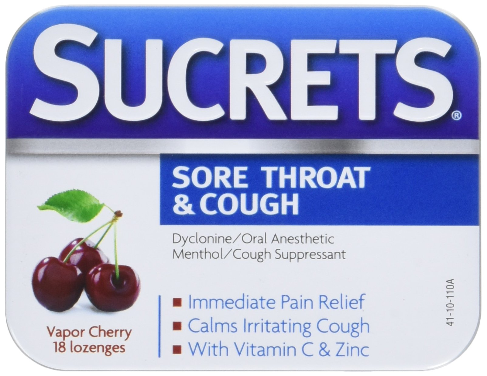 Sucrets Sore Throat Lozenges, Vapor Cherry, 18 Count. Sore Throat & Cough Relief, Dyclonine hydrochloride 3.0 mg and Menthol 6.0 mg for immediate pain relief, Iconic Sucrets Tin. (Pack of 6)