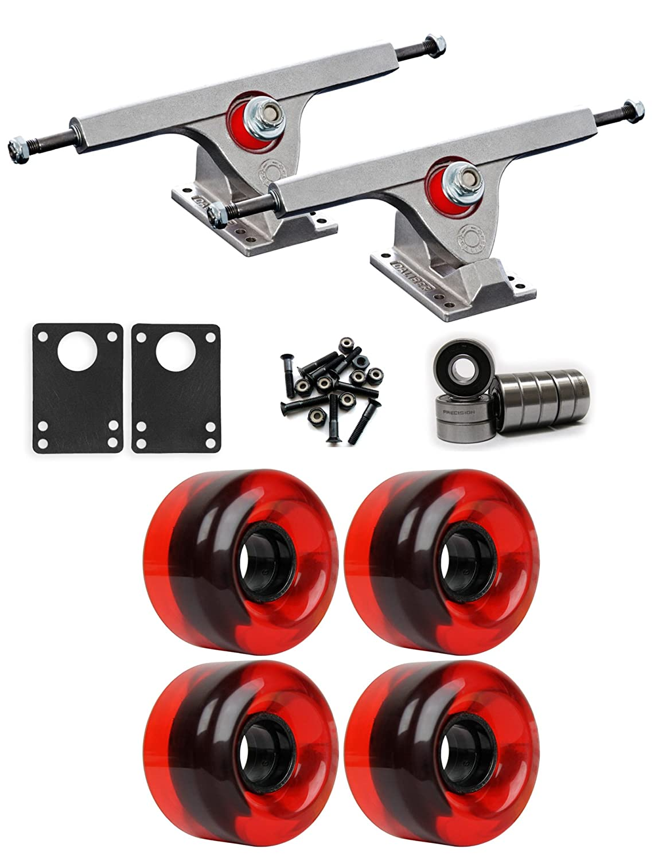 Caliber Raw Longboardトラックホイールパッケージ62 mm x 40 mm 83 a 485 Cレッドクリア   B01IJ6EH82