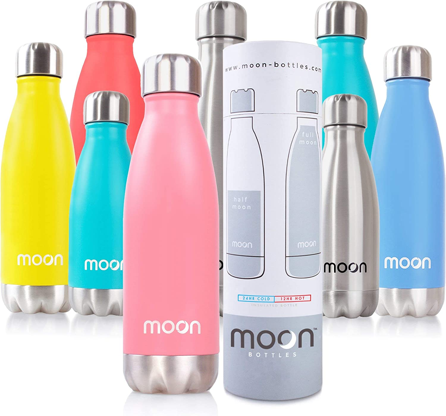 moon botellas - Botella de Agua de Acero Inoxidable, Botella Termica sin BPA - 12 Horas Caliente, 24 Horas Frías - 260ml, 500ml, 750ml – Doble Pared, Reutilizable, Respetuoso con el Medio Ambiente, a