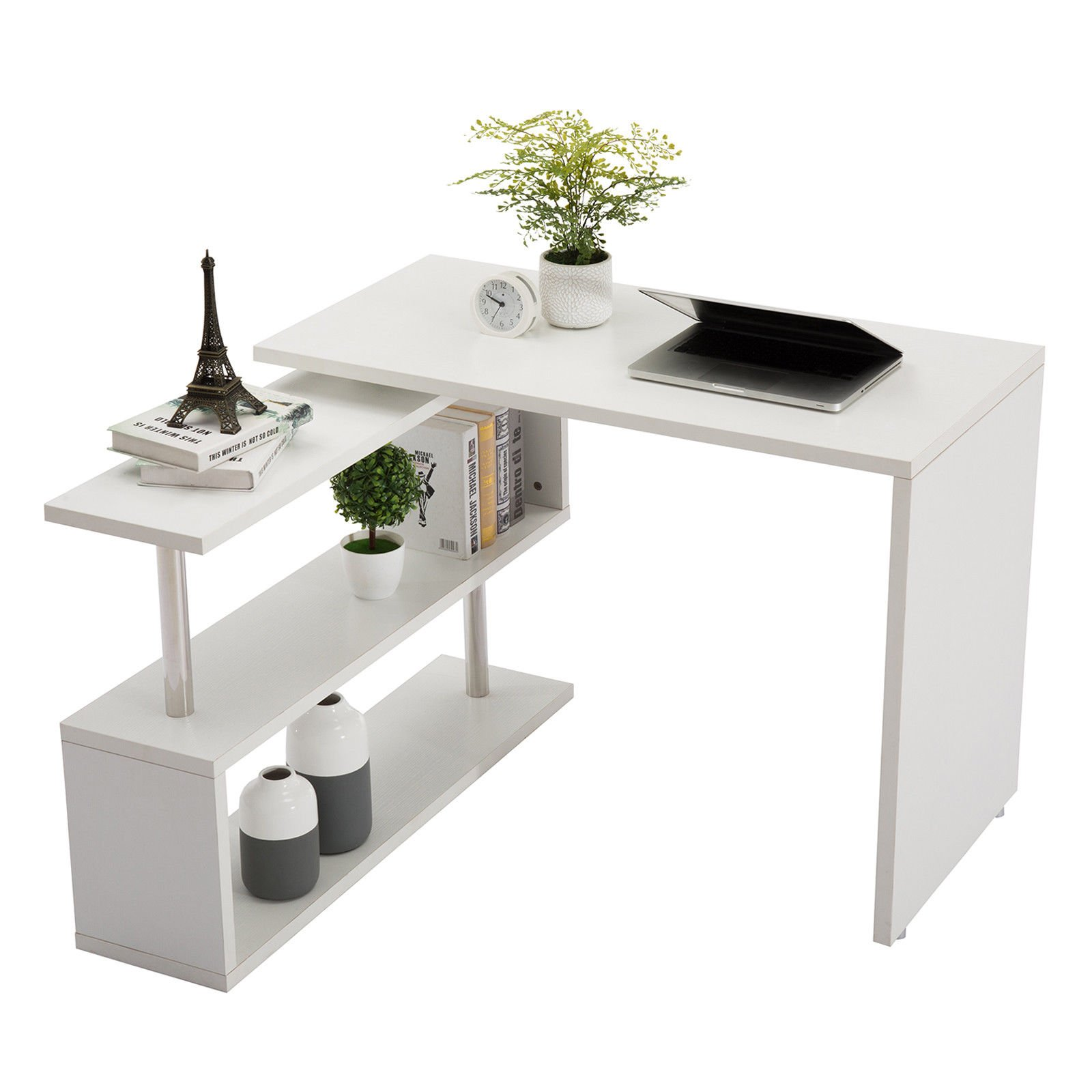 L-Shaped Rotating Desk Swivel Corner Computer Desk 40'' Rotatable Writing Table Workstation W/Storage Bookshelves for Home Office by Super Office