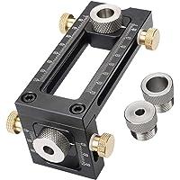 Houtbewerking Doweling Jig, 2-in-1 verstelbare houtbewerking boren Puncher Locator, 4-Hole 6/8/10/12mm Pin Armatuur…