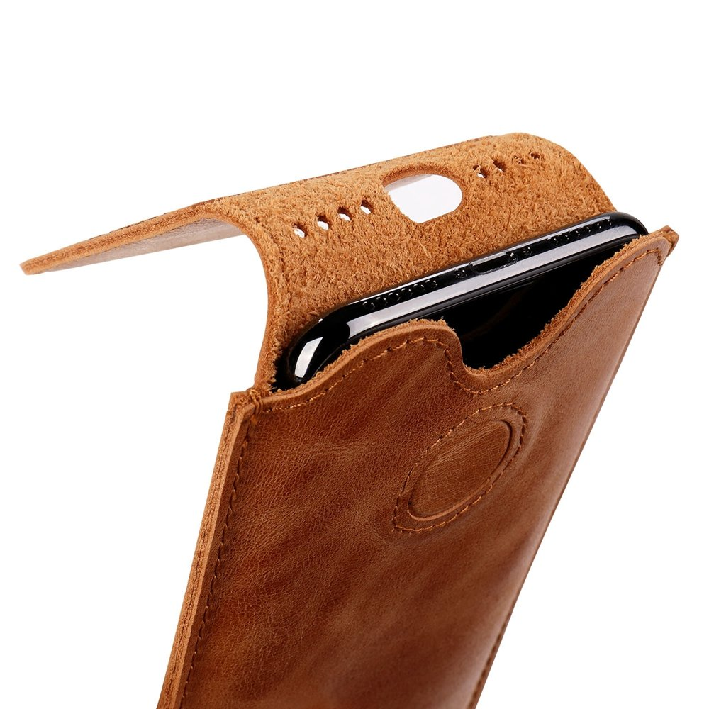iPhone X Leather Case Sleeve TOOVREN Genuine Leather Protective Ultra Rugged Holster Phone Pouch Carrying Bag for Apple iPhone X/10 (2017) Brown by TOOVREN (Image #1)