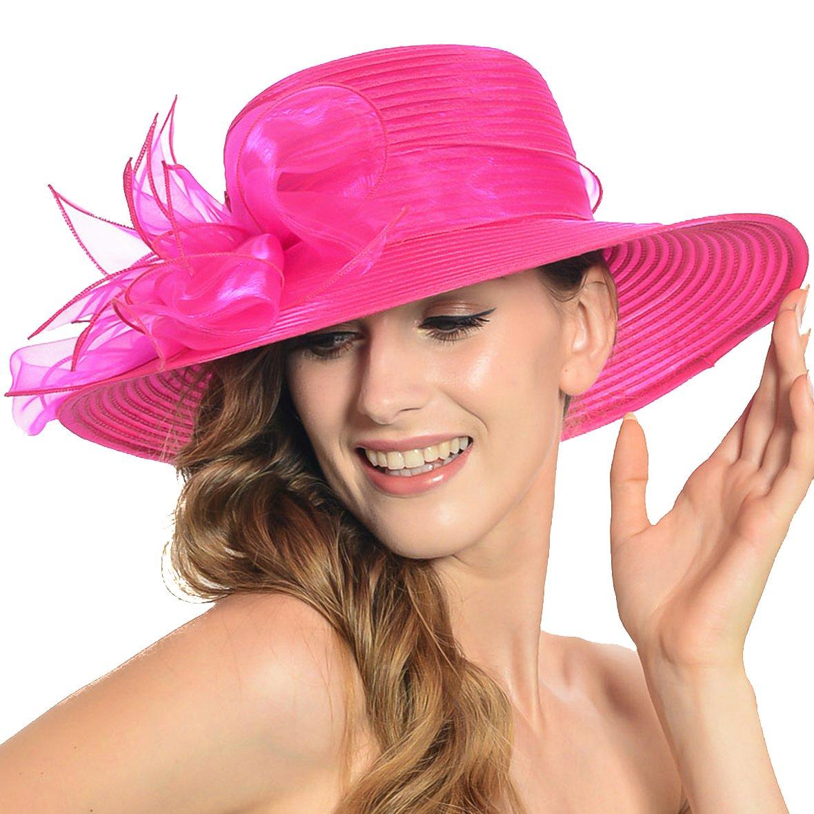 Women Organza Floral Derby Dress Church Wedding Party Hat S052-zr (Hot Pink)