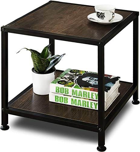 GreenForest End Table with Storage Shelf 2 Tier Metal Frame Side Table for Living Room Bedroom Easy Assembly, Rustic Walnut