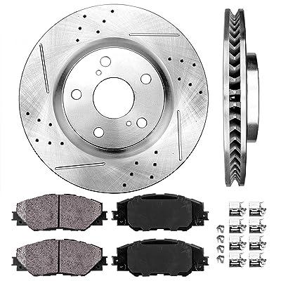 Callahan CDS03262 FRONT 296mm Drilled & Slotted 5 Lug [2] Rotors + Ceramic Pads + Clips [fit Vibe Scion TC Matrix Rav4]: Automotive