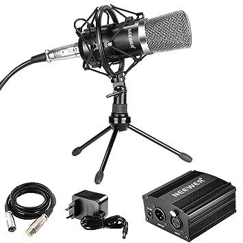 Neewer Micrófono de Condensador Audio con Montura, Alimentación Phantom 48V, Cable XLR 3 Pin, Mini Trípode Sobremesa, para Recordar Sonido, ...