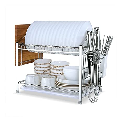YOMYM 304 Stainless Steel 2 Tier Kitchen Organizer And Storage With Drying  Rack And Cutlery Holder