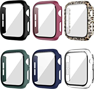 6 Pack Case for Apple Watch 40mm Series 6/5/4/SE with Tempered Glass Screen Protector, Haojavo Full Hard Ultra-Thin Scratch Resistant Bumper Protective Cover for iWatch Accessories