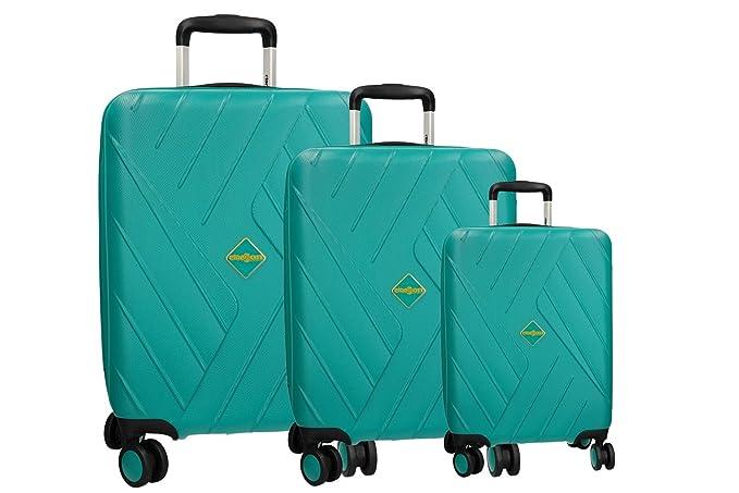 CLACSON 3 Maletas rígidas set turquesa cabina 4 ruedas ABS equipaje de mano VS317: Amazon.es: Ropa y accesorios