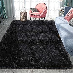 Pacapet Soft Area Rug, Furry Black Rug for Bedroom, Plush Fluffy Rug, Shag Rug Carpet for Living Room, Nursery, Home Decor, 4 x 6 Feet