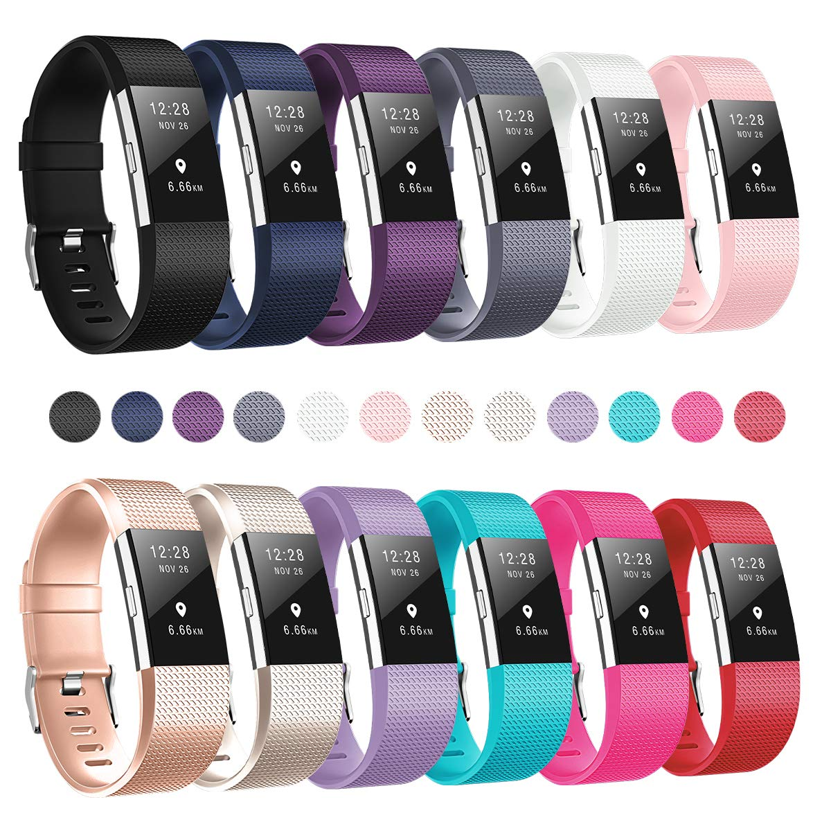 d698a6a72d06a Humenn Bands Compatible for Fitbit Charge 2, Replacement Accessory Sport  Band for Fitbit Charge 2 HR, 12-Pack
