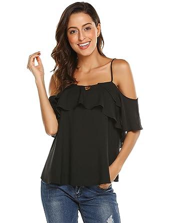 de6ecbaf8f1c13 Grabsa Women's Summer Strap Cami Shirts Ruffle Chiffon Off Shoulder Blouse  Tops Black S