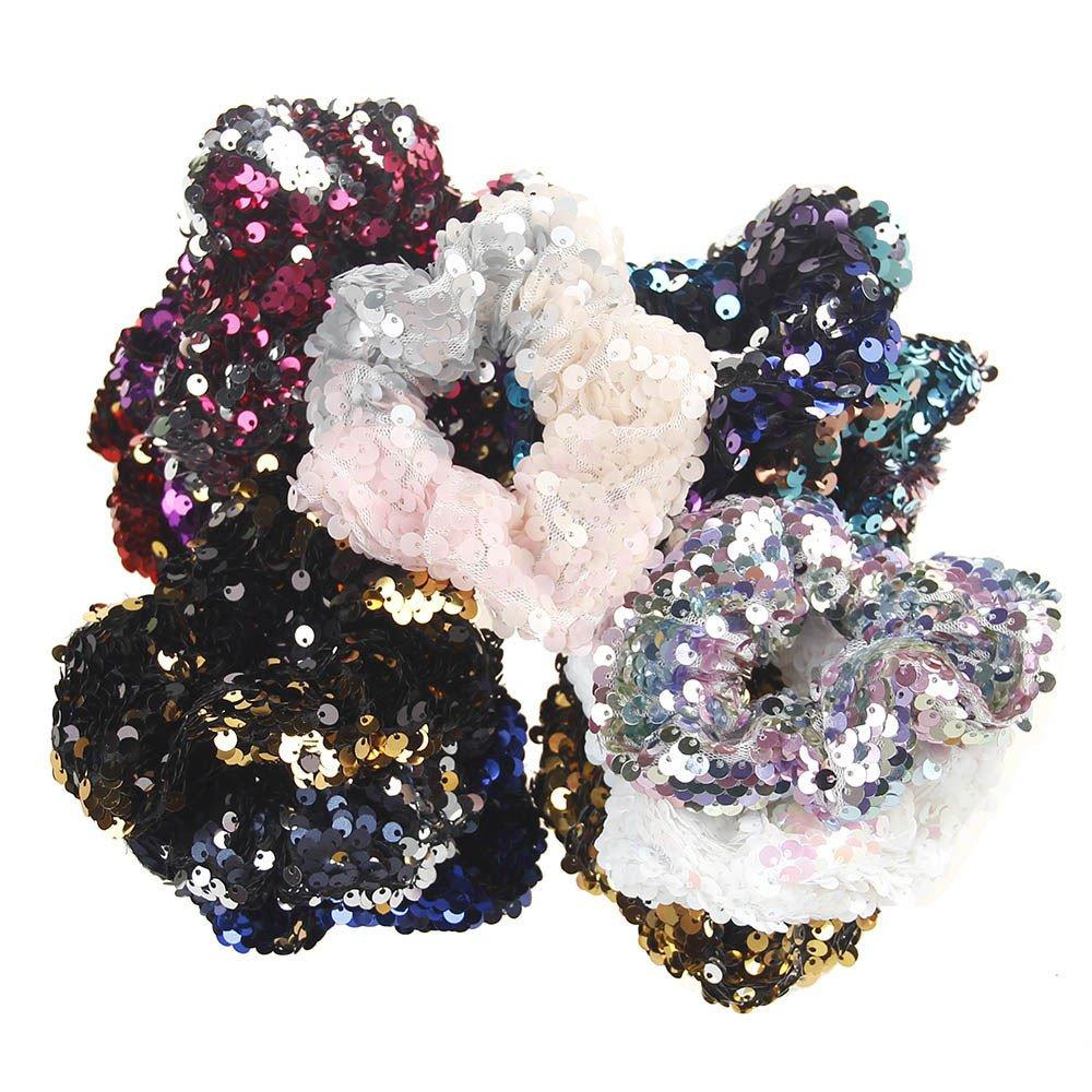 Ximandi Girls Sequins Ornament Rings Headwear Womens Elastic Hair Rubber Bands