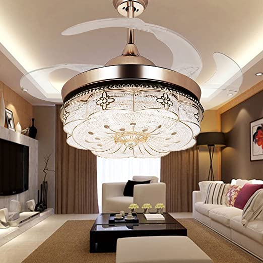 COLORLED Invisible Ceiling Fans Living Room Remote Control Fan Lights Bedroom Simple Modern Retractable Belt LED Mute Electric Fan Chandeliers (42-Inch) ... & COLORLED Invisible Ceiling Fans Living Room Remote Control Fan ...