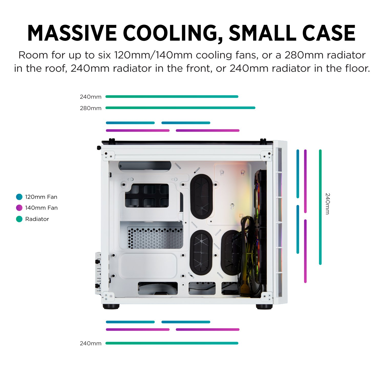RGB High Airflow Tempered Glass ATX Smart Gaming Case Black Corsair CC-9011168-WW Crystal Series 680X