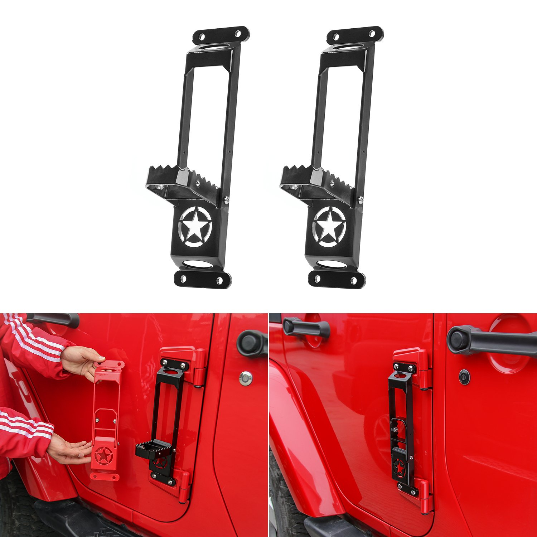 Voodonala Metal Door Hinge Steps Metal Folding Foot Pedal Peg for 2007-2018 Jeep Wrangler JK JKU JL JLU Black