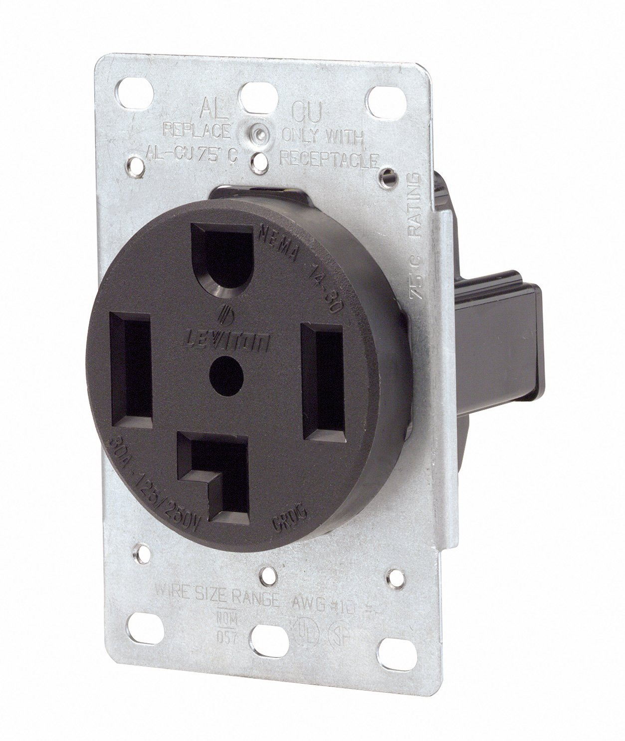 Leviton 071 00278 000 4 Wire 30 Amp 250 Volt Flush Mount Dryer Wiring Also Electrical Circuit Breaker Panel Box Together With Receptacle Range Plug Receptacles