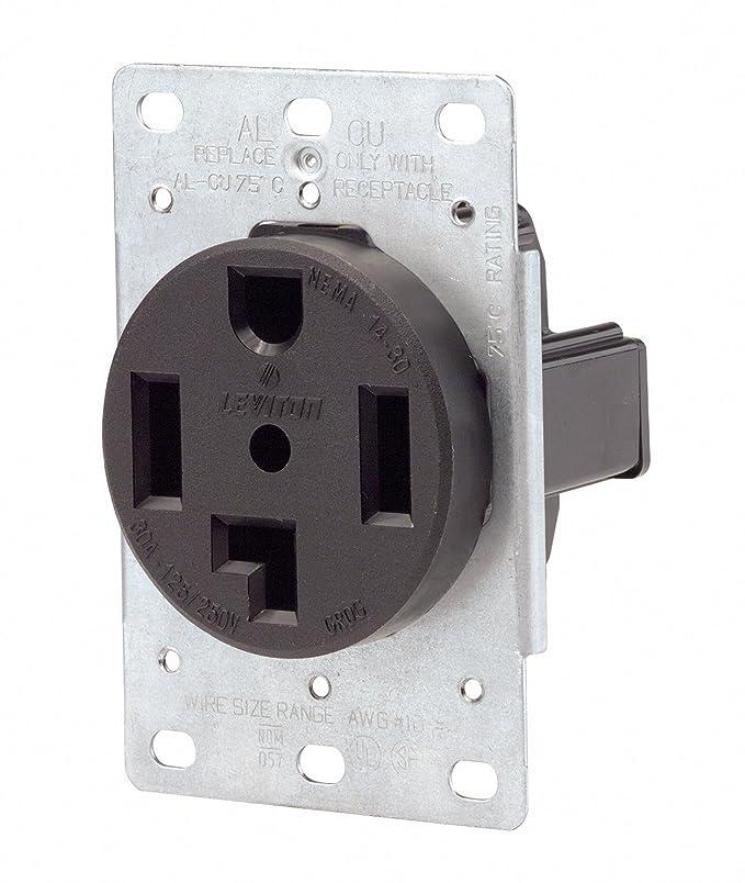 Leviton 071-00278-000 4 Wire 30 Amp 250 Volt Flush Mount Dryer ...