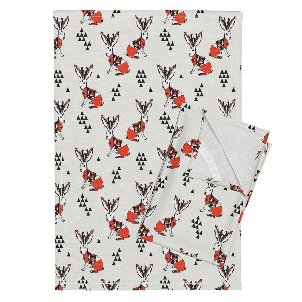 Andrealauren Animal Jackalope Geo Pattern Geometric Tea Towels Geometric Jackalope - by Andrea Lauren Set of 2 Linen Cotton Tea Towels