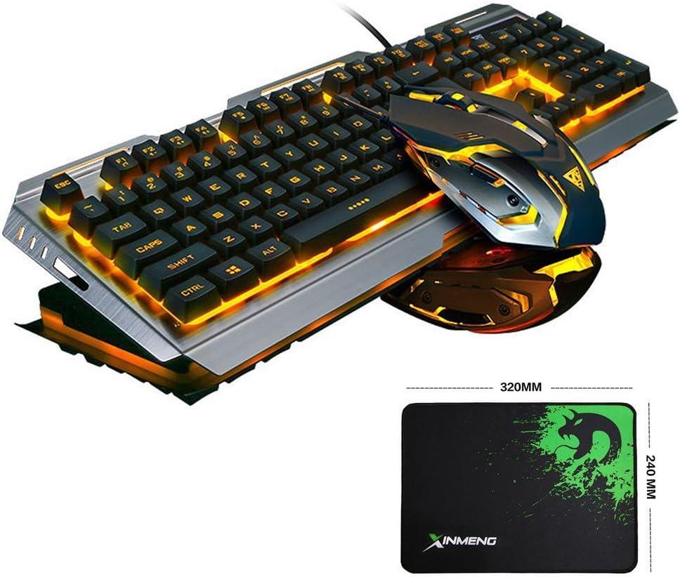 Nero//Arancione Chiaro FELICON Tastiera da Gioco Mouse Combinato Wired LED retroilluminato Tastiera per Giochi USB Metallo Impermeabile+3200 DPI 7 Colori Breathe Light Ottico Mouse Set Mouse Pad