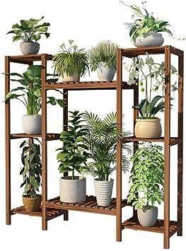 YUNC Soporte para macetas Escalera de flores de múltiples capas Estante de exhibición Estante para plantas de pie de madera al aire libre Soporte para macetas de interior Estante de almacenamiento mu: