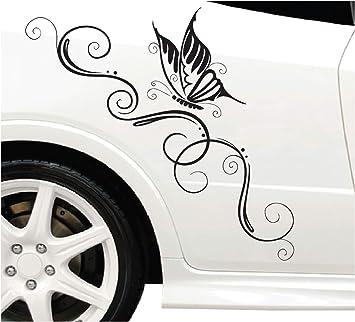Dd Dotzler Design Blumenranke Schmetterling Auto Aufkleber Für Motorhaube Heckscheibe Tuningsticker Autodekor Tattoo Auto Ranke 58 X 25 Cm Schwarz 96 X 38 Cm Auto