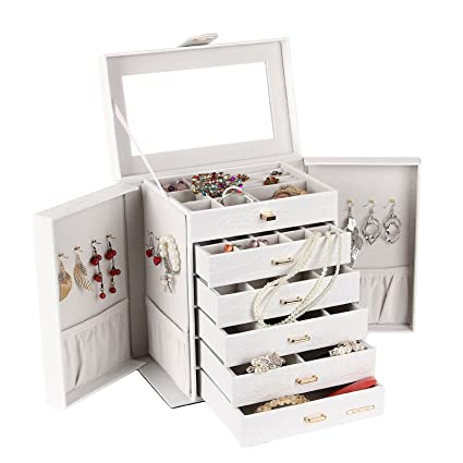 Rowling Extra Large Jewelry Box Cabinet Armoire Bracelet Necklace Storage  Case Zg231(white)