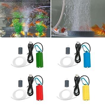 SLYlive portátil Acuario Bomba de aire de oxígeno hidropónico, Acuario Aireador Oxygen Bomba Tanque de peces, Fish Tank Mute Energy save Compresor: ...