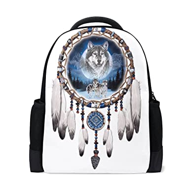 9ba1abdff25 Amazon.com   Donnapink Cool Dreamcather Wolf School Backpacks For ...
