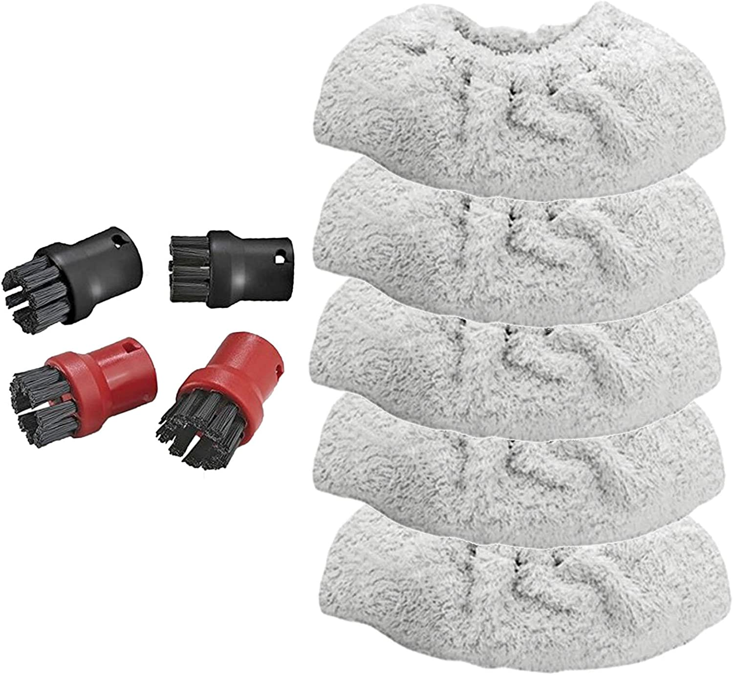 SPARES2GO Hand Tool Terry Cloth Pads Covers 4 Brush Nozzles for Karcher SC4100 SC5800 Steam Cleaner