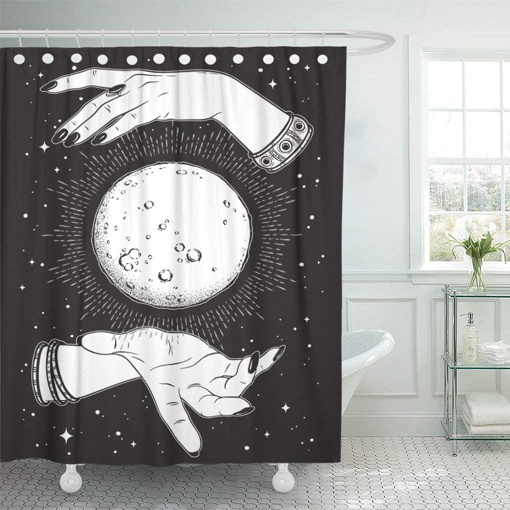 """Emvency Waterproof Fabric Shower Curtain Hooks Full Moon Rays of Light in Hands Fortune Teller Line and Dot Work Boho Chic Tattoo Altar Veil 60""""X72"""" Bathroom Odorless Eco Friendly"""
