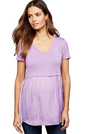 9315c665c4514 A Pea in the Pod Luxe Essentials Denim Knit Woven Babydoll Maternity Top at  Amazon Women's Clothing store: