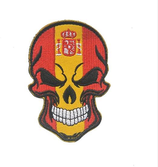 Parche de calavera y huesos cruzados de Rusia Francia España Italia bandera de Reino Unido Moral táctica militar con cierre de gancho y bucle [2 parches tácticos], Spain: Amazon.es: Hogar