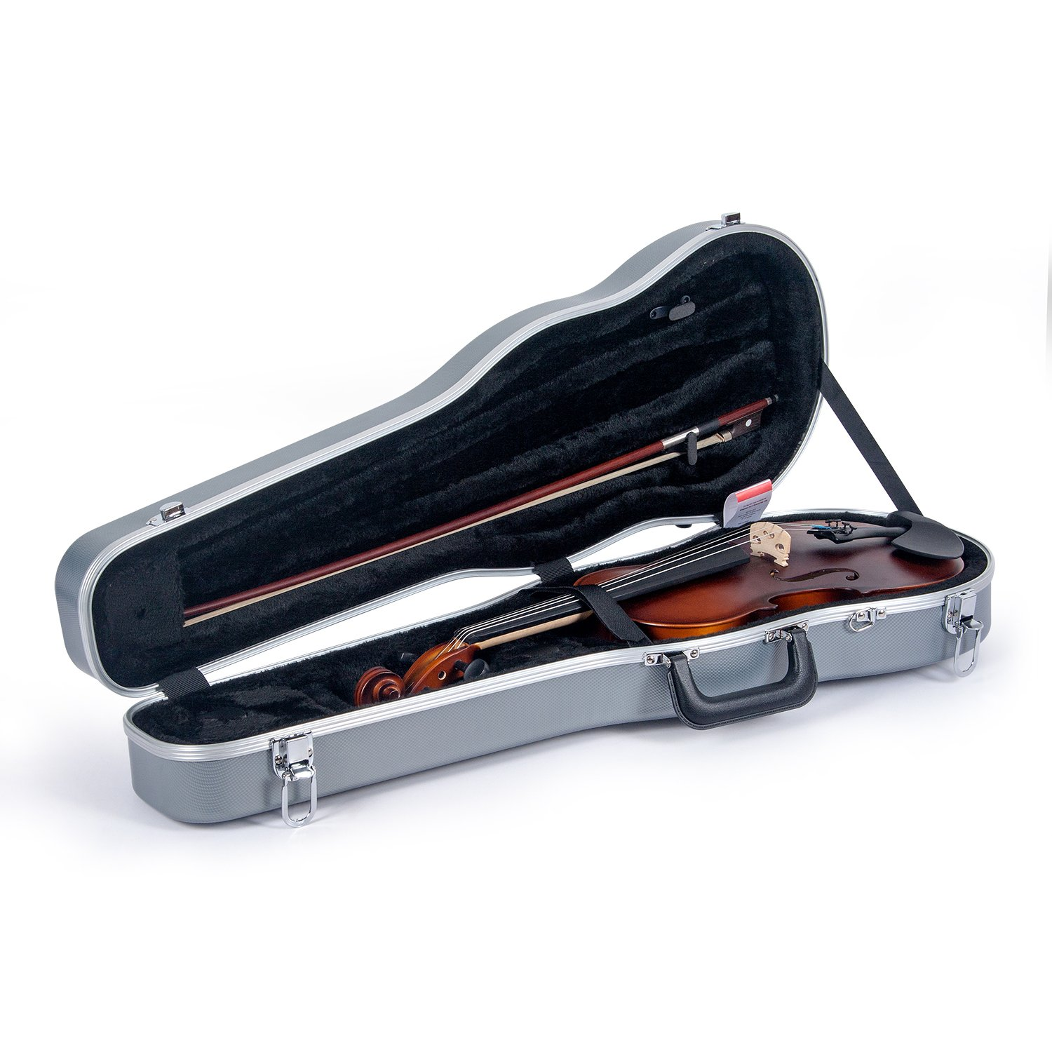 Crossrock CRA800SVFBK ABS Molded Shaped Violin Case, Backpack Style, Black Crossrock Case Company