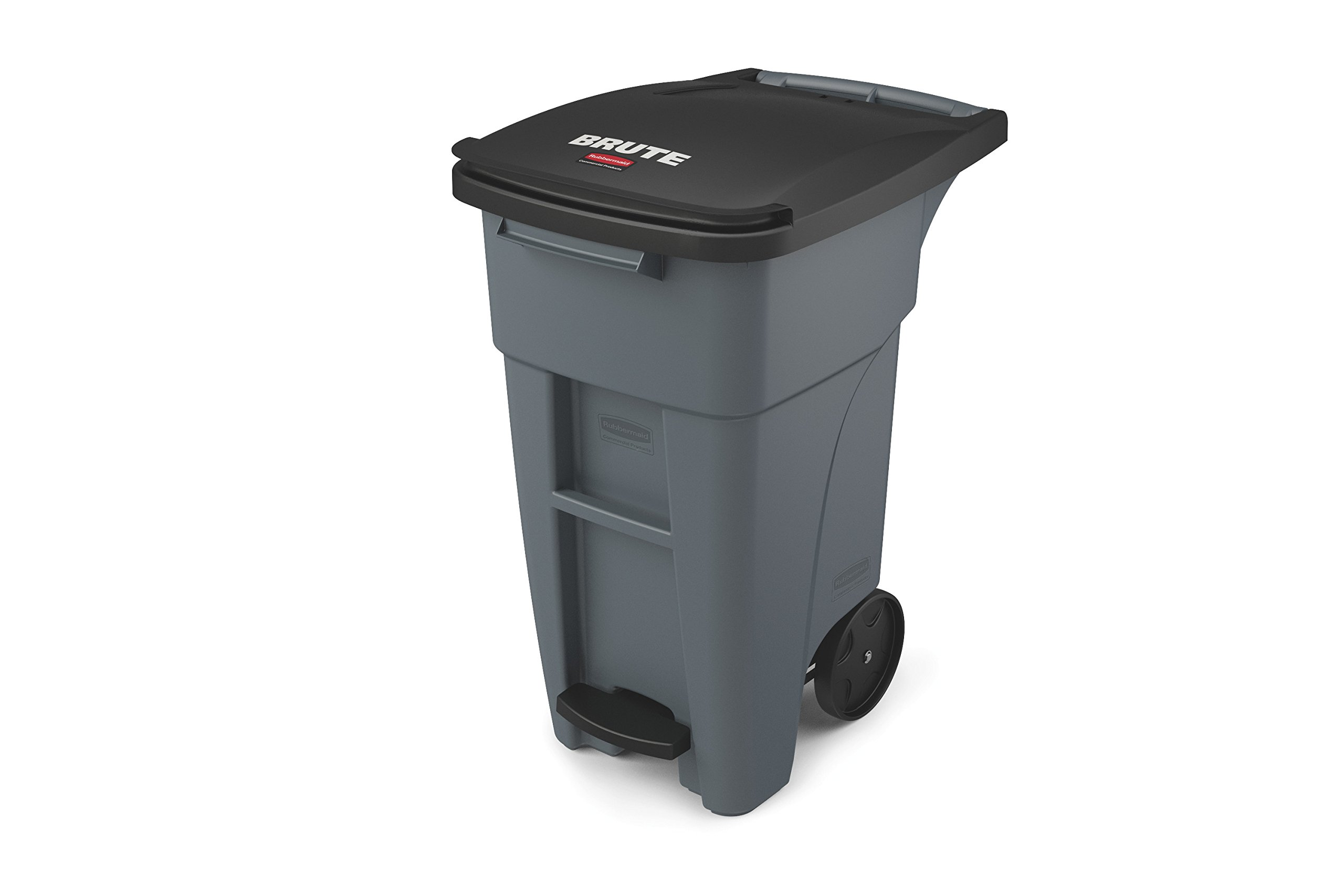 Rubbermaid Commercial Products BRUTE Rollout Step On Trash/Garbage Can, 32-gallon, Gray (1971944) by Rubbermaid Commercial Products