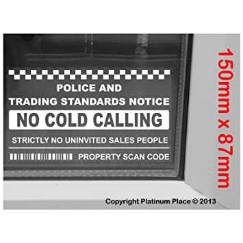 Inside window version no cold callerssalesman calling warning house sticker self adhesive