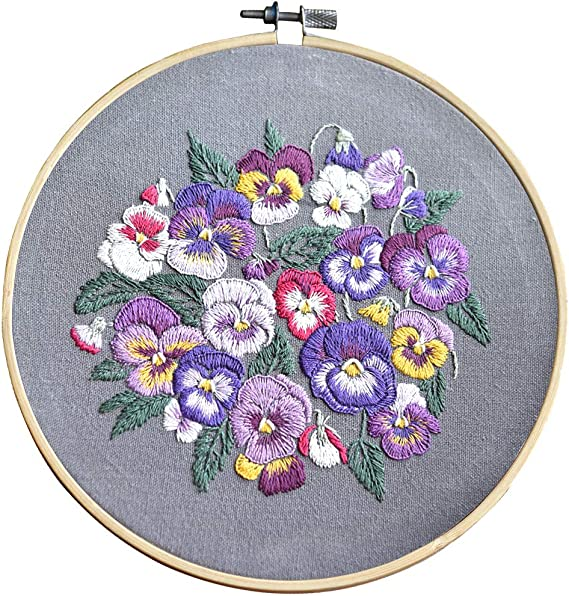 CYECTTR 1 Set Embroidery Starter Kit,Cross Stitch Set,Full Range of Stamped Embroidery Kits with 1 Embroidery Clothes with Plants Flowers Pattern and Instructions,1 Embroidery Hoops Orange