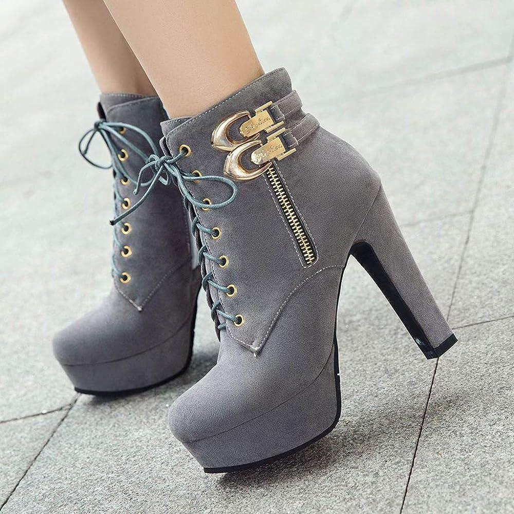 Botas de Mujeres Zapatos de tacón Cuadrado de Moda para Mujer Botines de tacón Alto Plataforma Impermeable Zapatos de tacón Moda Comodos Suave Botas TéRmicas Forradas Cremallera Hebilla LiNaoNa: Amazon.es: Ropa y