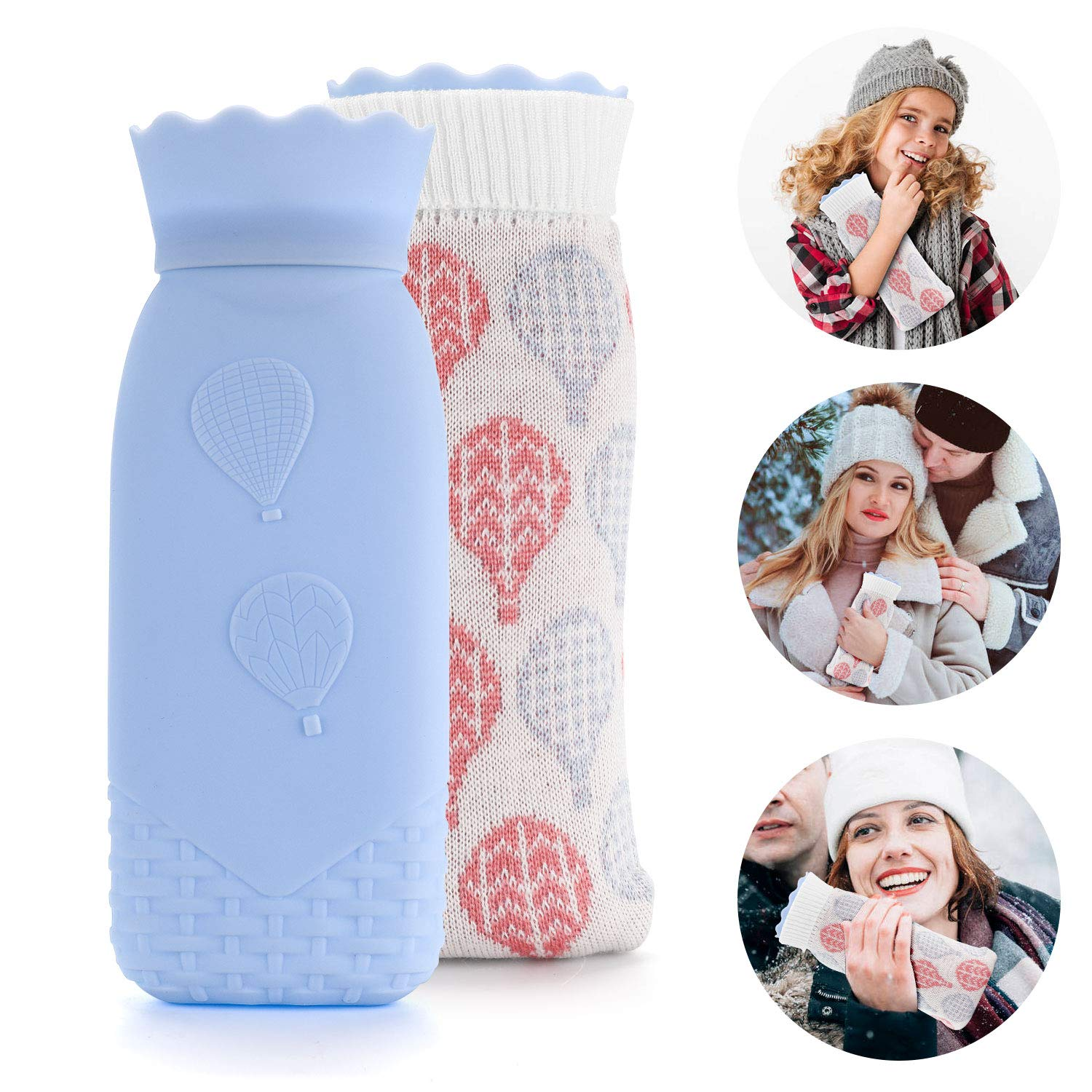 AEM-02 Hot Water Bottle Microwave Heating Bottle Environmental Silicone Hot Water Bag with Knit Cover Hot & Cold Therapies Gift for Women Birthday Christmas Valentine's Day