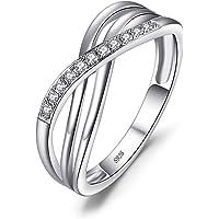 JewelryPalace Anillo Infinito Anillos Mujer Plata Diamante Simulado, Anillos Plata de ley 925 Mujer Chapado en Oro…